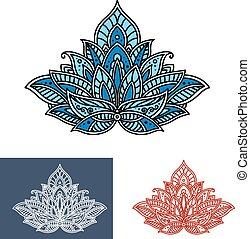 azul, decorativo, paisley, flor, scrolls, persa