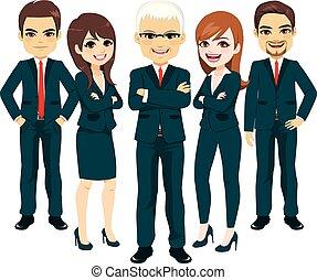 azul del negocio, traje, equipo