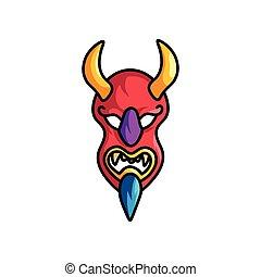 azul, demônio, máscara, amarela, chifres, vermelho, barba