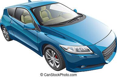 azul, deporte, coche