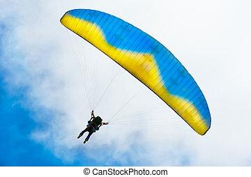 azul, descendente, parachuter, cielo, contra