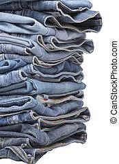 azul, desenhista, calças brim