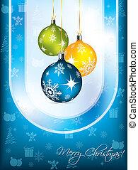 azul, desenho, cartão natal