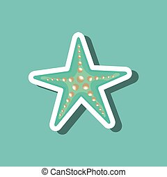 azul, desenho, praia, estrela, mar