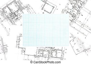 azul, desenhos técnicos, papel gráfico, experiência grade