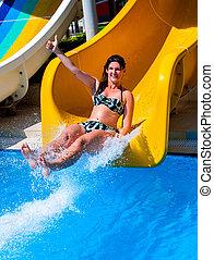 azul, deslizamentos, adultos, aquapark, corrediça água, piscina, natação