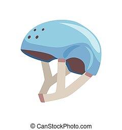 azul, desporto, capacete, caricatura, vetorial, ilustração