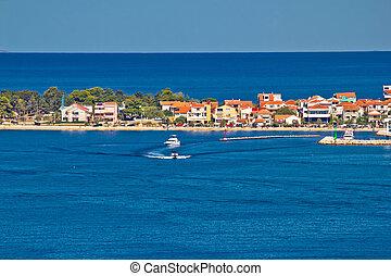 azul, destinación turística, península, mar, zadar