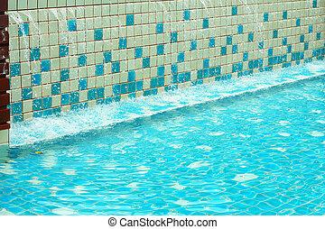 azul, detalhe, água, ondulado, piscina, natação
