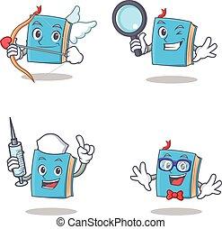 azul, detetive, jogo, personagem, cupid, geek, livro, enfermeira