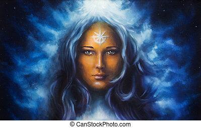 azul, deusa, mulher, cabelo longo, segurando