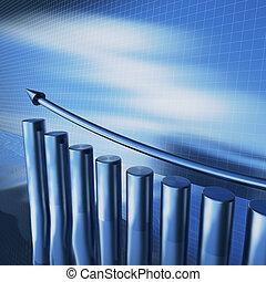 azul, diagrama, superfície, metálico, água, seta, colunas