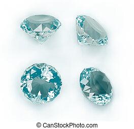azul, diamantes, aislado, blanco