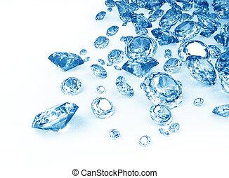azul, diamantes