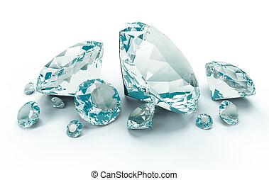 azul, diamantes, isolado, branco