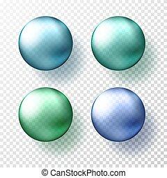 azul, diferente, pelotas, eps10, realista, o, sombras, gteen, color., cuatro, esferas, vector, ilustración, metálico, transparente