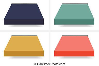 azul, diferente, vector, coloreado, cuatro, amarillo, verde,...