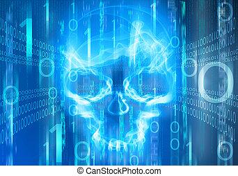 azul, digital, resumen, plano de fondo, con, cráneo