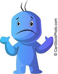 azul, dilema, ilustración, vector, plano de fondo, caracter...
