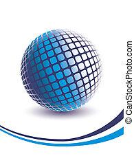 azul, dimensional, globe., tres