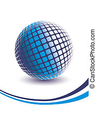azul, dimensional, três, globe.