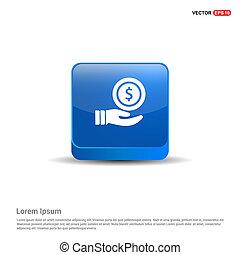 azul, dinheiro, botão, -, passe segurar, ícone, 3d