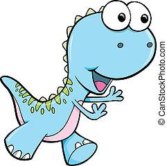 azul, dinosaurio, vector, tonto, animal