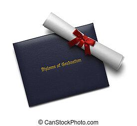 azul, diploma, cobertura