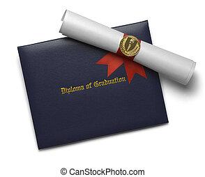 azul, diploma, cobertura, tocha