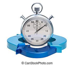 azul, dirección, concepto, arrows., interpretación, tiempo, cronómetro, 3d