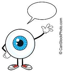 azul, discurso, tipo, globo ocular, burbuja