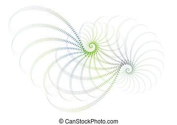 azul, diseño abstracto, verde blanco, fractal