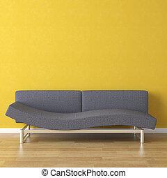 azul, diseño de interiores, sofá amarillo