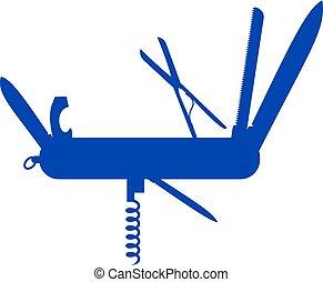 azul, diseño, multifunctional, silueta, cuchillo