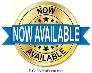 azul, disponível, agora, teia, medalha, dourado, moeda, emblema, redondo, garantia