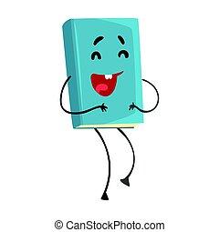 azul, divertido, carácter, ilustración, caricatura, vector, reír, humanized, libro