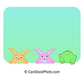 azul, divertido, conejos, fondo.