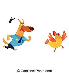 azul, divertido, policía, pastor, carácter, perro, uniforme, perseguir, pollo