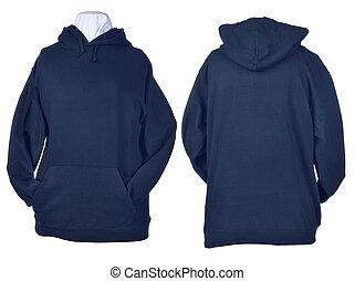 azul, dois, pretas, camisas, enrugado, lado