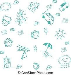 azul, doodle, praia, arte