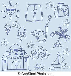 azul, doodle, praia, elemento