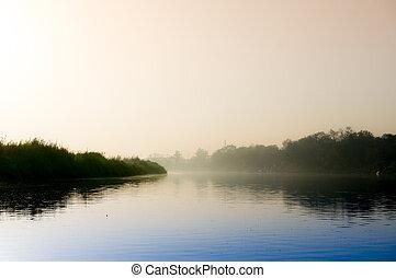 azul, dorado, agua, mañana, temprano, ghat, niebla, sol, ...