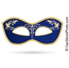 azul, dorado, trenza, máscara