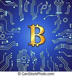 azul, dourado, bitcoin, experiência.