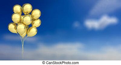 azul, dourado, céu, ilustração, experiência., balões, 3d