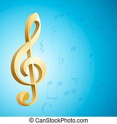 azul, dourado, g, sobre, musical, experiência., vetorial, tecla, clef, notas