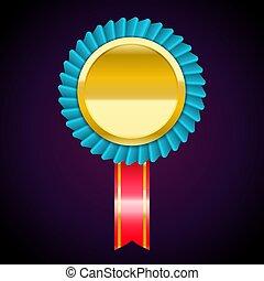 azul, dourado, medalha, adesivo, ilustração, vetorial, vermelho, emblema, fita