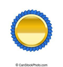 azul, dourado, medalha, ilustração, vetorial, vermelho, emblema, fita