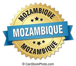 azul, dourado, moçambique, emblema, redondo, fita