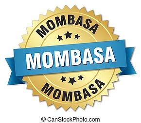 azul, dourado, mombasa, emblema, redondo, fita